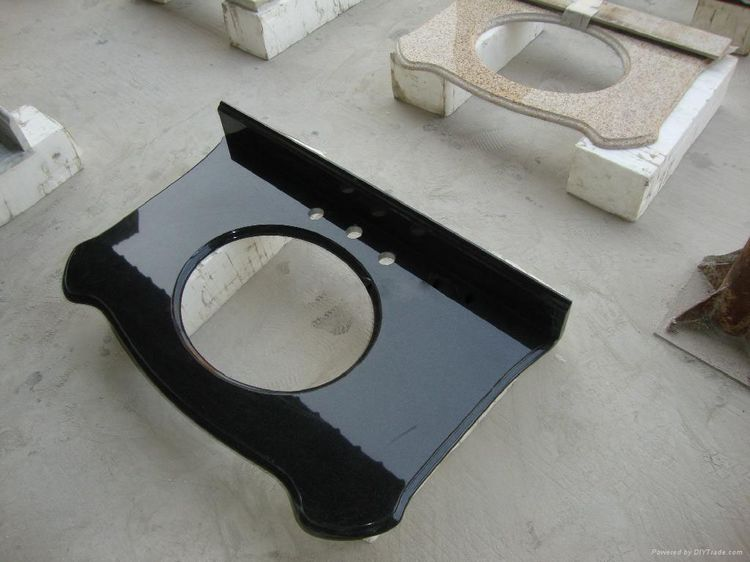 Hebei Black Bathroom Granite Vanity Tops, China. 038